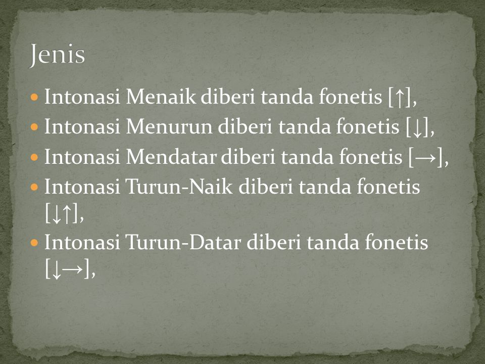 Jenis Intonasi Menaik diberi tanda fonetis [↑],